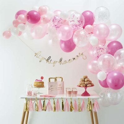 Ballonbogen-Kit rosa (70 Stück)
