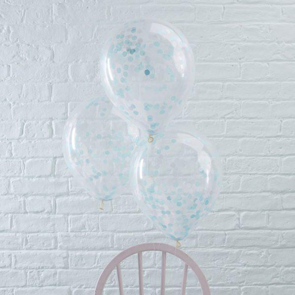 Konfetti-Ballon (5 St.) – blau