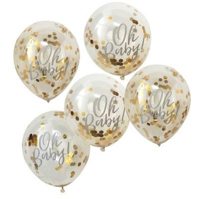 Konfetti Ballon (5 st.) - gold