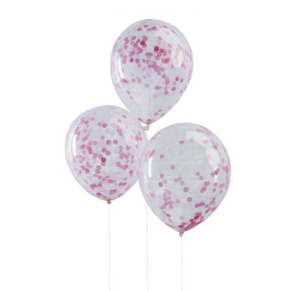 Konfetti Ballons (5 St. ) - rosa