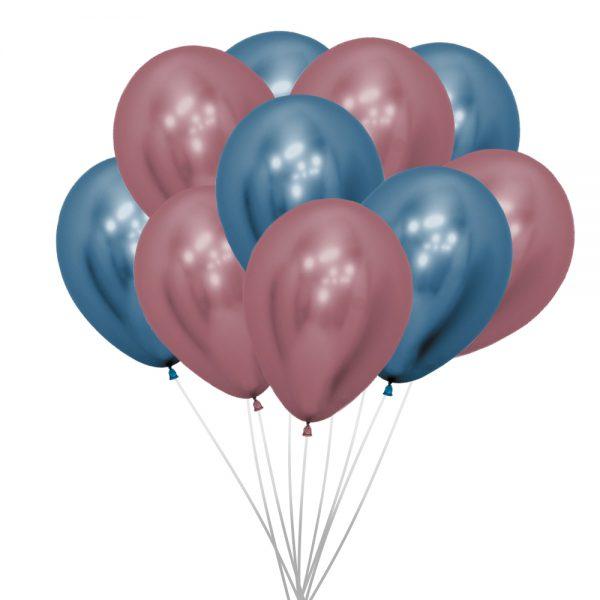Ballons (10 St.) - Metallic, Pink und Blau